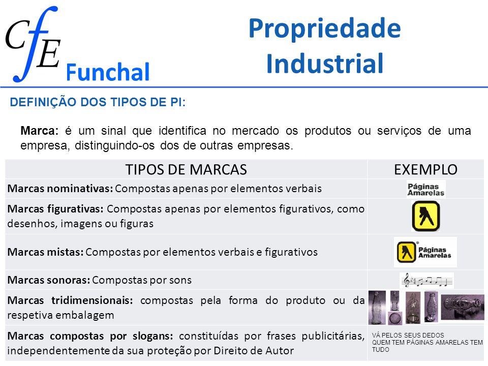 Propriedade Industrial Funchal Marca: é um sinal que identifica no mercado os produtos ou serviços de uma empresa, distinguindo-os dos de outras empre