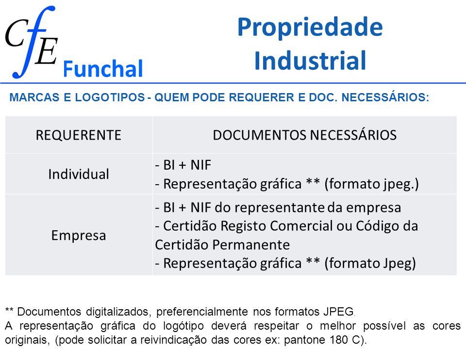 Propriedade Industrial Funchal MARCAS E LOGOTIPOS - QUEM PODE REQUERER E DOC. NECESSÁRIOS: ** Documentos digitalizados, preferencialmente nos formatos