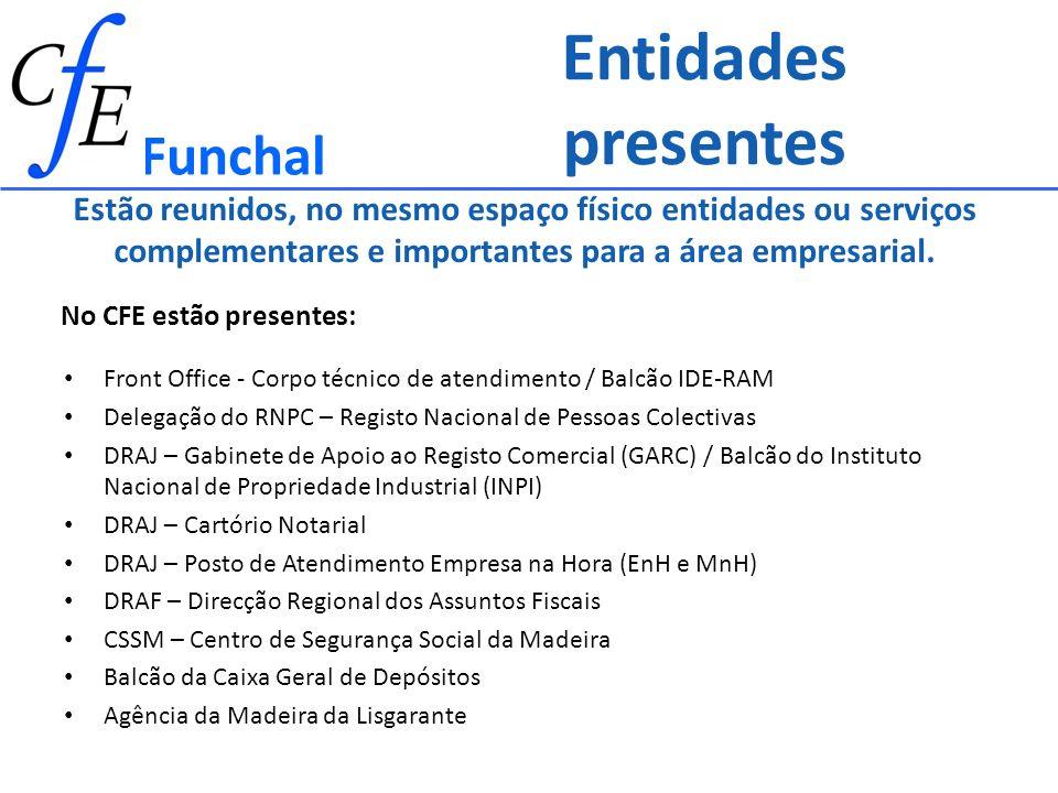 Entidades presentes Front Office - Corpo técnico de atendimento / Balcão IDE-RAM Delegação do RNPC – Registo Nacional de Pessoas Colectivas DRAJ – Gab