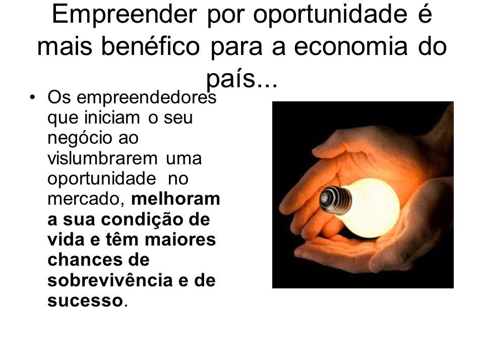 Empreender por oportunidade é mais benéfico para a economia do país... Os empreendedores que iniciam o seu negócio ao vislumbrarem uma oportunidade no