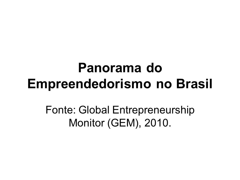 Panorama do Empreendedorismo no Brasil Fonte: Global Entrepreneurship Monitor (GEM), 2010.