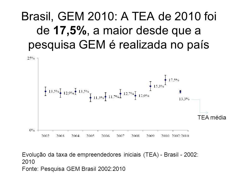 Brasil, GEM 2010: O Brasil é o que possui a maior TEA seguido pela China, com 14,4% e a Argentina com 14,2% Nos países do BRIC, o Brasil tem a população mais empreendedora (17,5%).