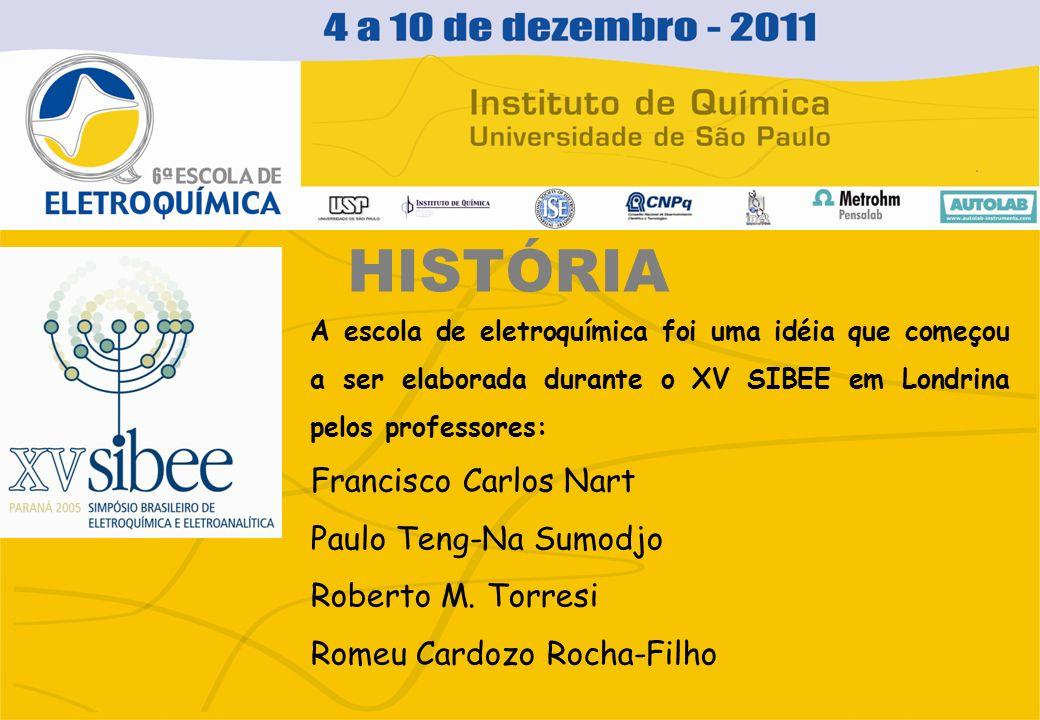 HISTÓRIA A escola de eletroquímica foi uma idéia que começou a ser elaborada durante o XV SIBEE em Londrina pelos professores: Francisco Carlos Nart P