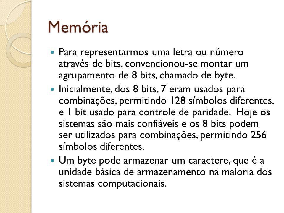 Memória Para representarmos uma letra ou número através de bits, convencionou-se montar um agrupamento de 8 bits, chamado de byte. Inicialmente, dos 8