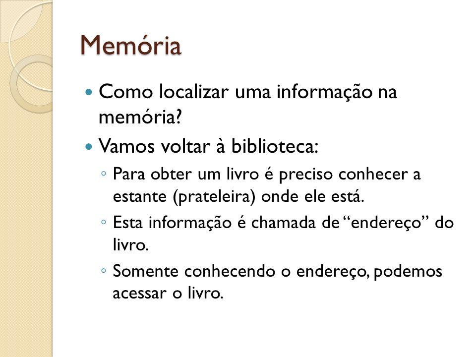Memória Como localizar uma informação na memória? Vamos voltar à biblioteca: Para obter um livro é preciso conhecer a estante (prateleira) onde ele es