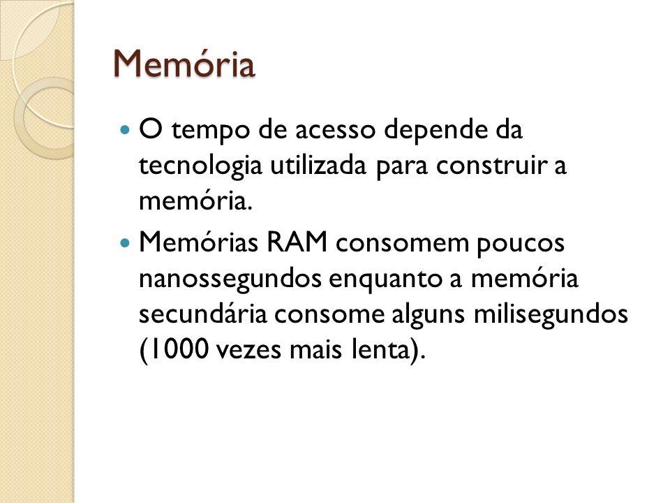 Memória O tempo de acesso depende da tecnologia utilizada para construir a memória. Memórias RAM consomem poucos nanossegundos enquanto a memória secu