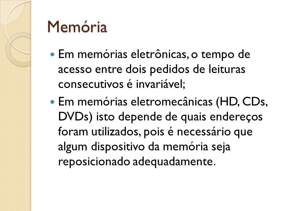 Memória Em memórias eletrônicas, o tempo de acesso entre dois pedidos de leituras consecutivos é invariável; Em memórias eletromecânicas (HD, CDs, DVD