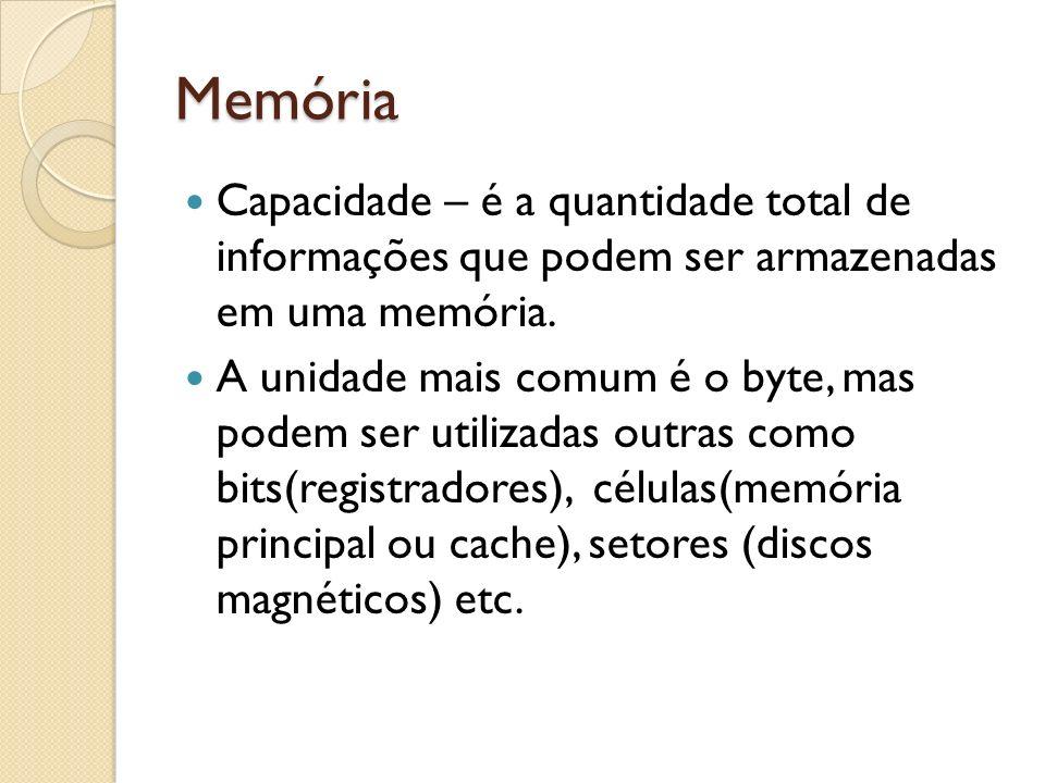 Memória Capacidade – é a quantidade total de informações que podem ser armazenadas em uma memória. A unidade mais comum é o byte, mas podem ser utiliz