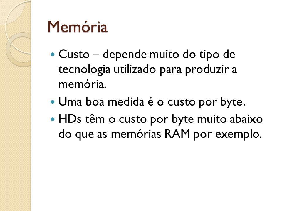 Memória Custo – depende muito do tipo de tecnologia utilizado para produzir a memória. Uma boa medida é o custo por byte. HDs têm o custo por byte mui