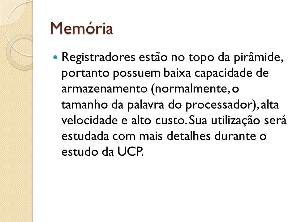 Memória Registradores estão no topo da pirâmide, portanto possuem baixa capacidade de armazenamento (normalmente, o tamanho da palavra do processador)