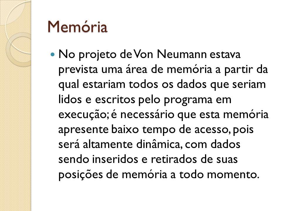Memória No projeto de Von Neumann estava prevista uma área de memória a partir da qual estariam todos os dados que seriam lidos e escritos pelo progra