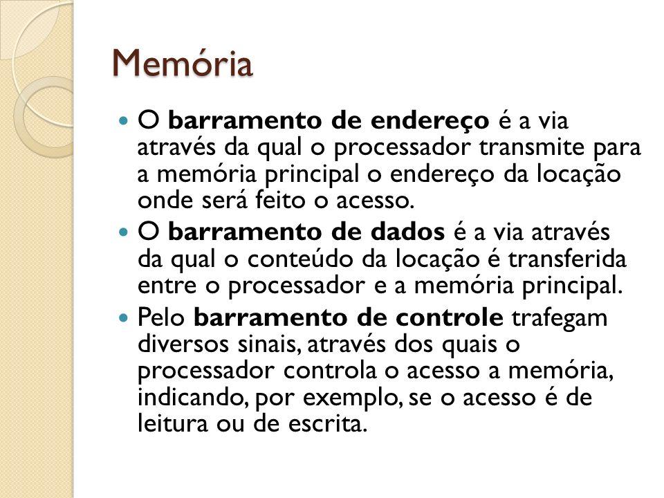 Memória O barramento de endereço é a via através da qual o processador transmite para a memória principal o endereço da locação onde será feito o aces