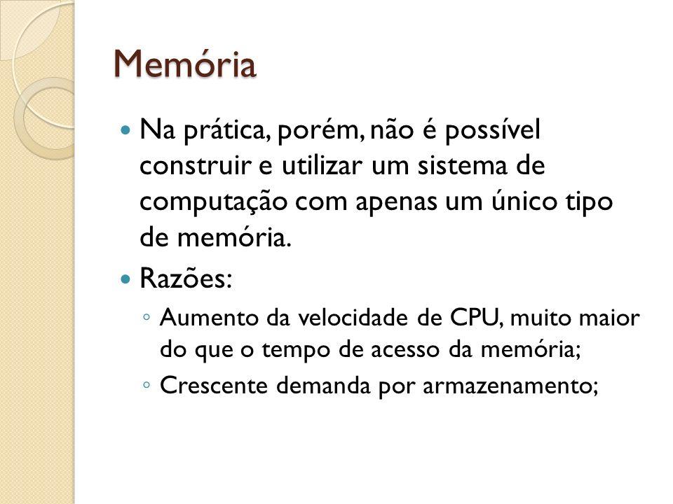 Memória Na prática, porém, não é possível construir e utilizar um sistema de computação com apenas um único tipo de memória. Razões: Aumento da veloci