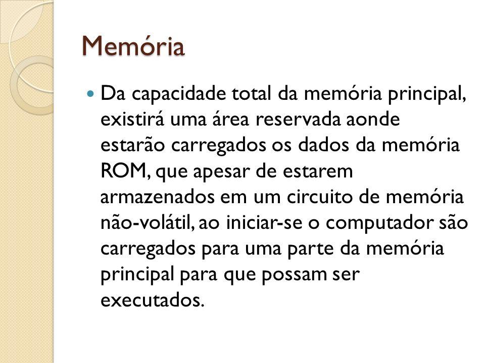 Memória Da capacidade total da memória principal, existirá uma área reservada aonde estarão carregados os dados da memória ROM, que apesar de estarem