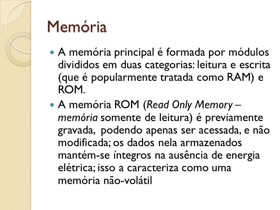 Memória A memória principal é formada por módulos divididos em duas categorias: leitura e escrita (que é popularmente tratada como RAM) e ROM. A memór