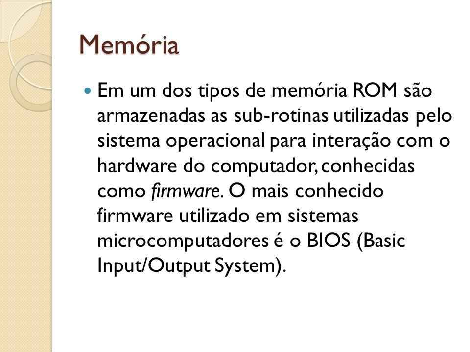 Memória Em um dos tipos de memória ROM são armazenadas as sub-rotinas utilizadas pelo sistema operacional para interação com o hardware do computador,