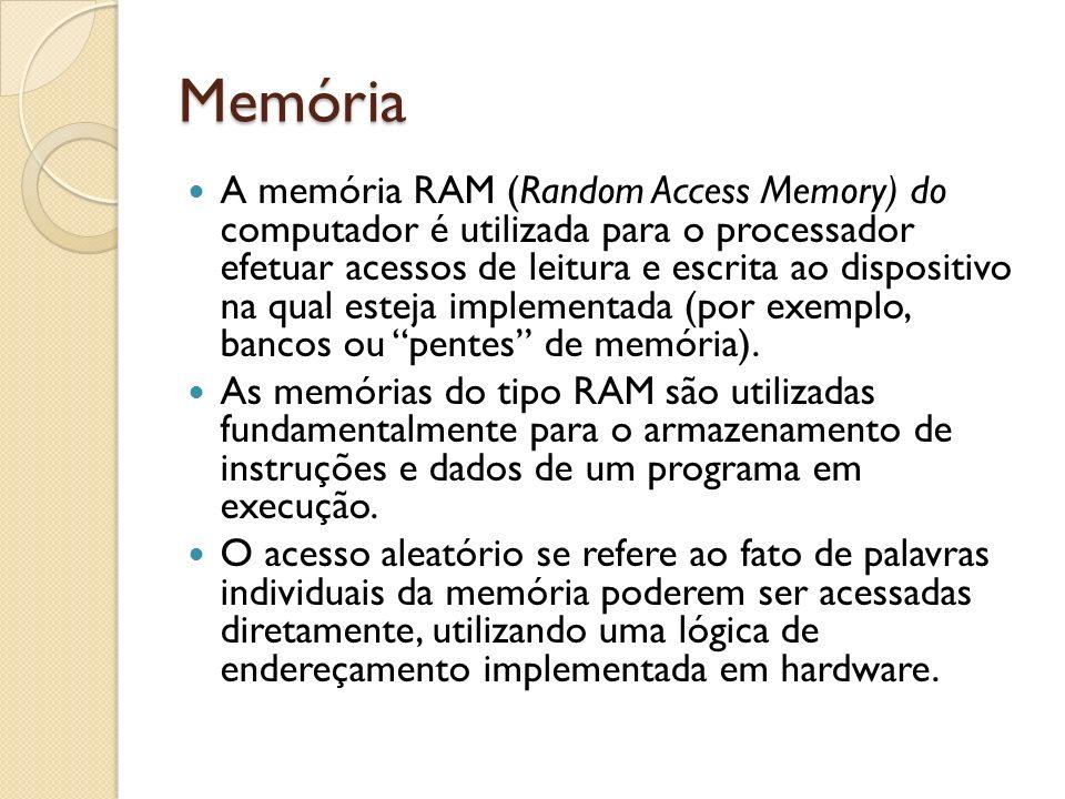 Memória A memória RAM (Random Access Memory) do computador é utilizada para o processador efetuar acessos de leitura e escrita ao dispositivo na qual