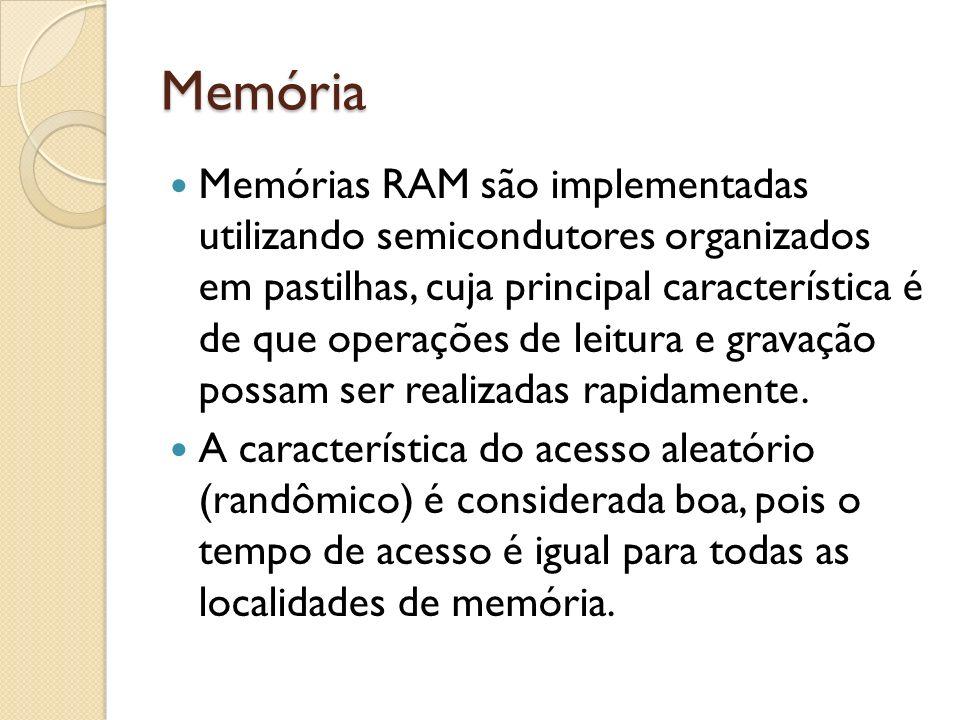 Memória Memórias RAM são implementadas utilizando semicondutores organizados em pastilhas, cuja principal característica é de que operações de leitura