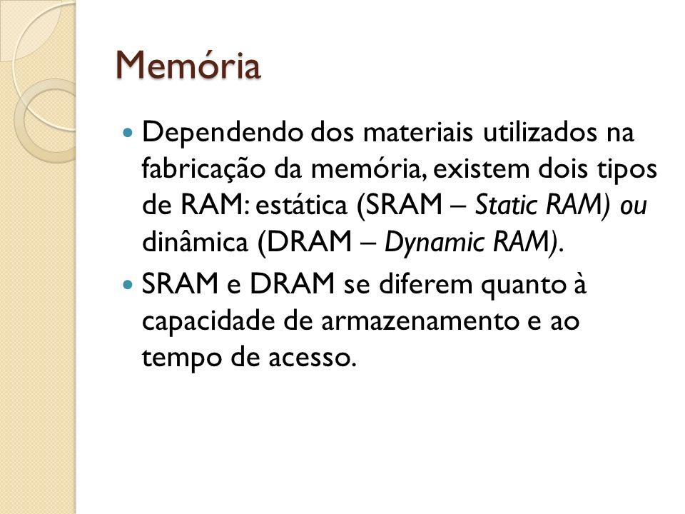 Memória Dependendo dos materiais utilizados na fabricação da memória, existem dois tipos de RAM: estática (SRAM – Static RAM) ou dinâmica (DRAM – Dyna