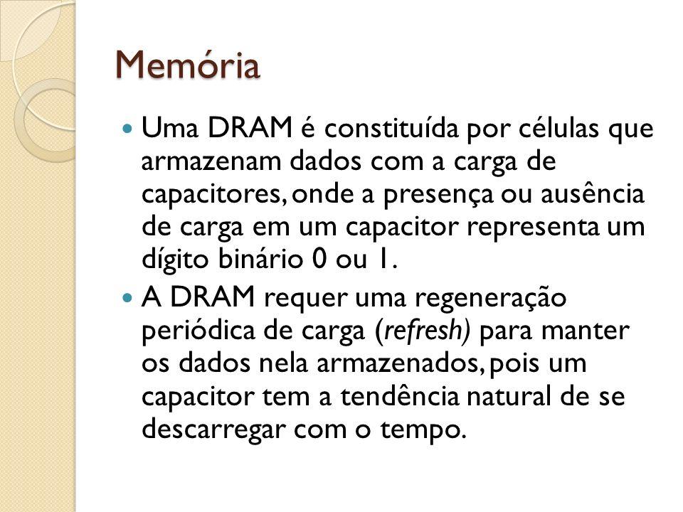 Memória Uma DRAM é constituída por células que armazenam dados com a carga de capacitores, onde a presença ou ausência de carga em um capacitor repres