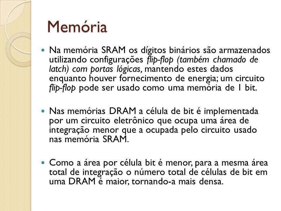 Memória Na memória SRAM os dígitos binários são armazenados utilizando configurações flip-flop (também chamado de latch) com portas lógicas, mantendo