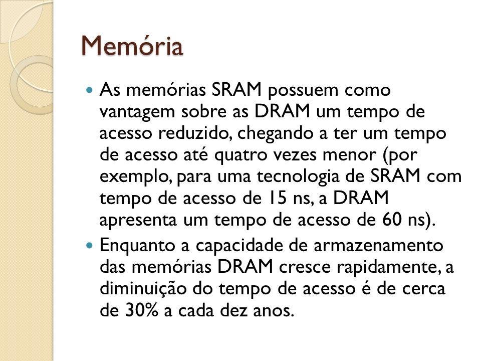 Memória As memórias SRAM possuem como vantagem sobre as DRAM um tempo de acesso reduzido, chegando a ter um tempo de acesso até quatro vezes menor (po