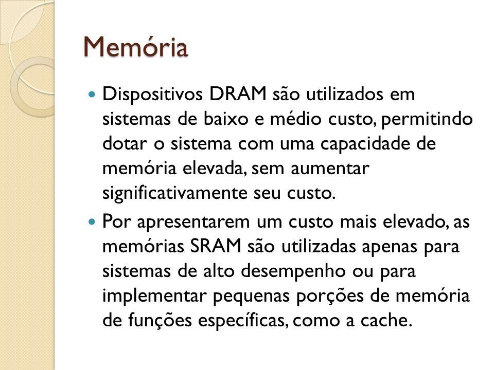 Memória Dispositivos DRAM são utilizados em sistemas de baixo e médio custo, permitindo dotar o sistema com uma capacidade de memória elevada, sem aum