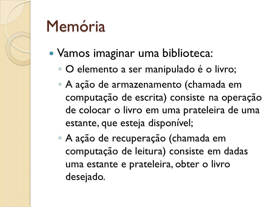 Memória Vamos imaginar uma biblioteca: O elemento a ser manipulado é o livro; A ação de armazenamento (chamada em computação de escrita) consiste na o