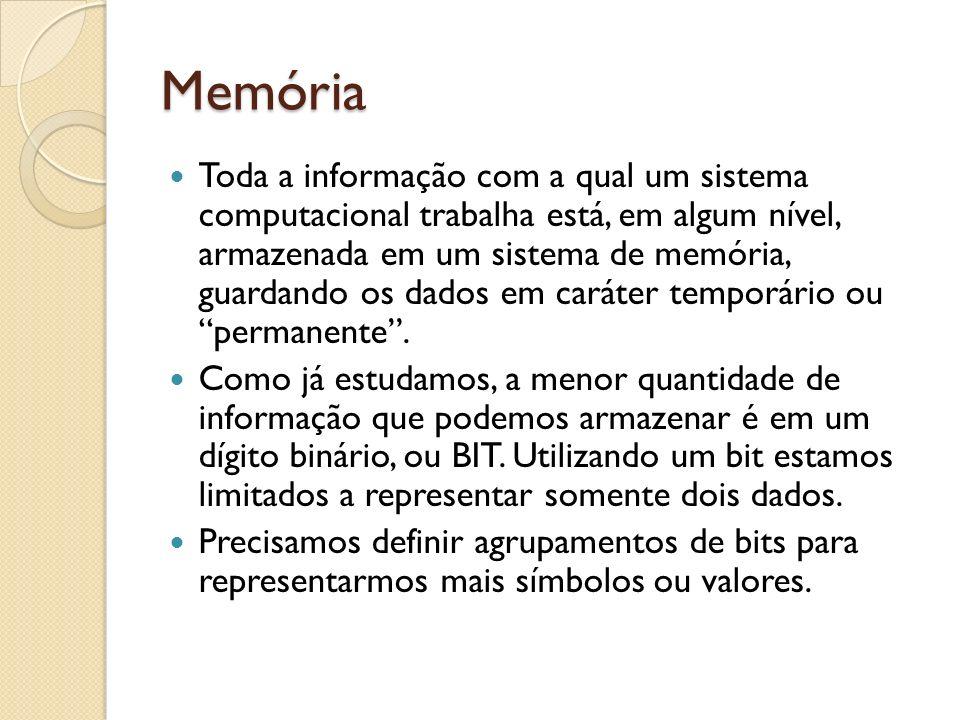 Memória Toda a informação com a qual um sistema computacional trabalha está, em algum nível, armazenada em um sistema de memória, guardando os dados e