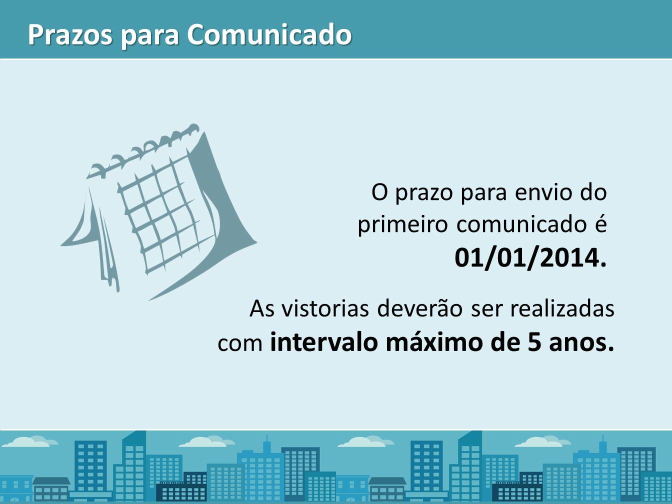 Prazos para Comunicado O prazo para envio do primeiro comunicado é 01/01/2014. As vistorias deverão ser realizadas com intervalo máximo de 5 anos.