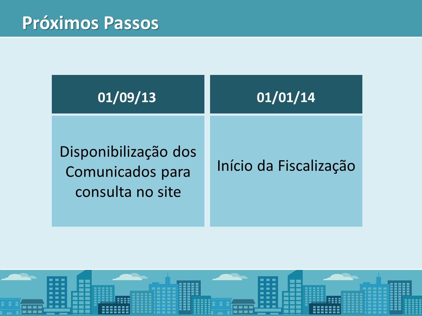 Próximos Passos Disponibilização dos Comunicados para consulta no site 01/09/13 Início da Fiscalização 01/01/14