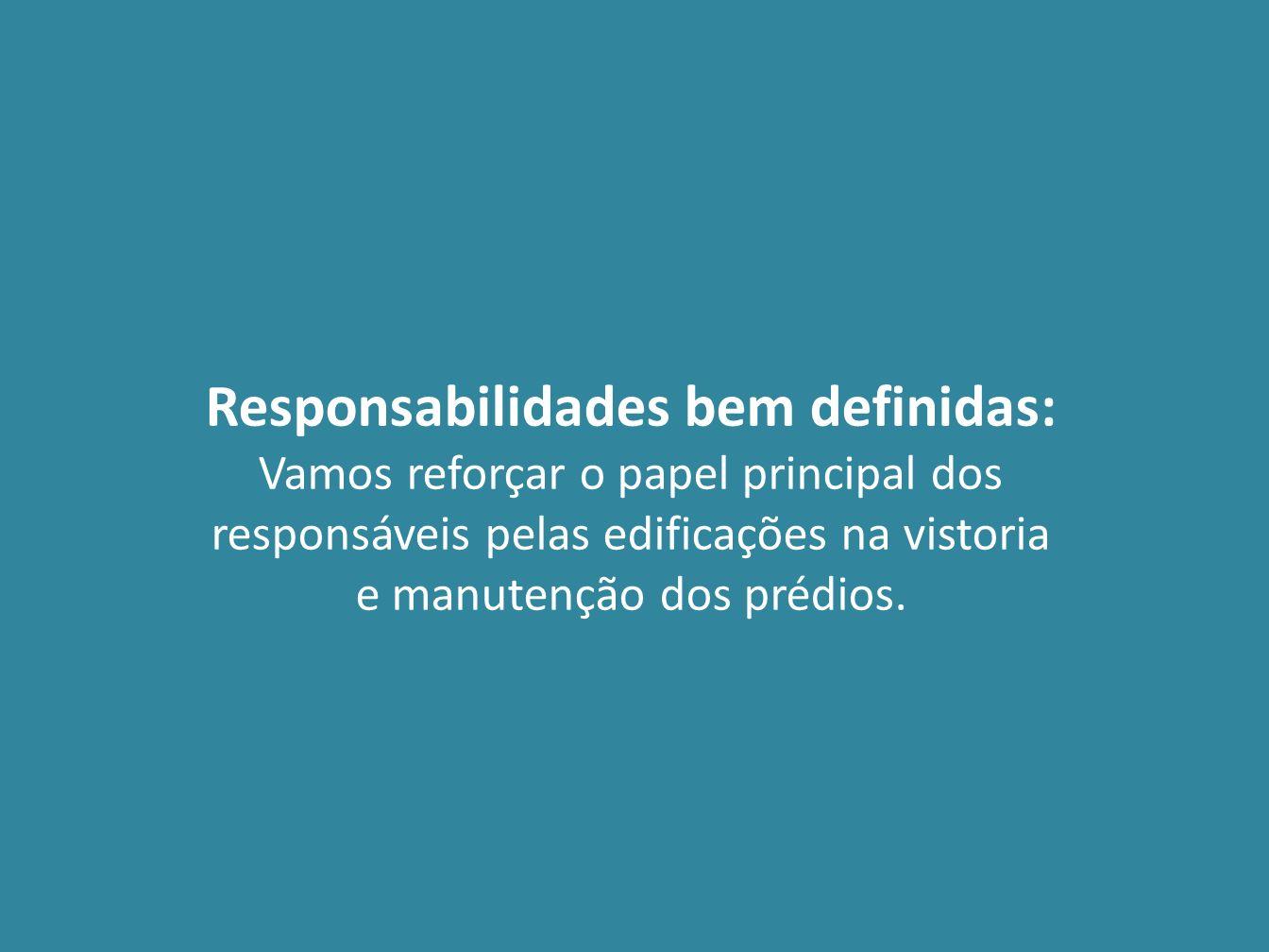 Responsabilidades bem definidas: Vamos reforçar o papel principal dos responsáveis pelas edificações na vistoria e manutenção dos prédios.