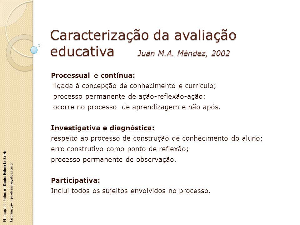 Caracterização da avaliação educativa Juan M.A. Méndez, 2002 Processual e contínua: ligada à concepção de conhecimento e currículo; processo permanent