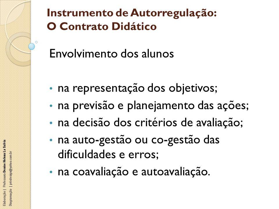Instrumento de Autorregulação: O Contrato Didático Envolvimento dos alunos na representação dos objetivos; na previsão e planejamento das ações; na de