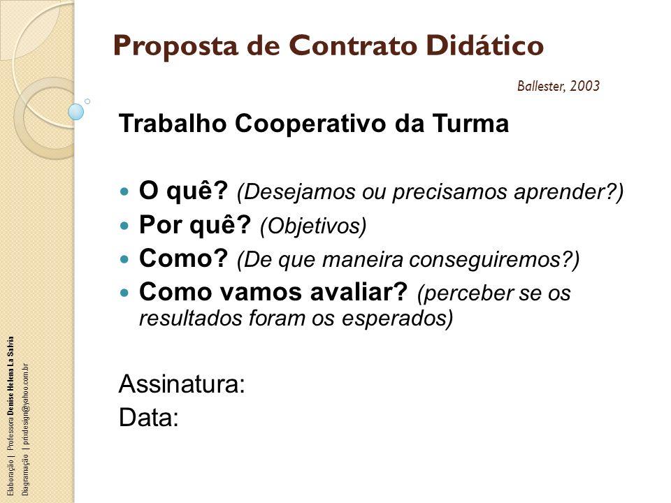 Proposta de Contrato Didático Ballester, 2003 Trabalho Cooperativo da Turma O quê? (Desejamos ou precisamos aprender?) Por quê? (Objetivos) Como? (De