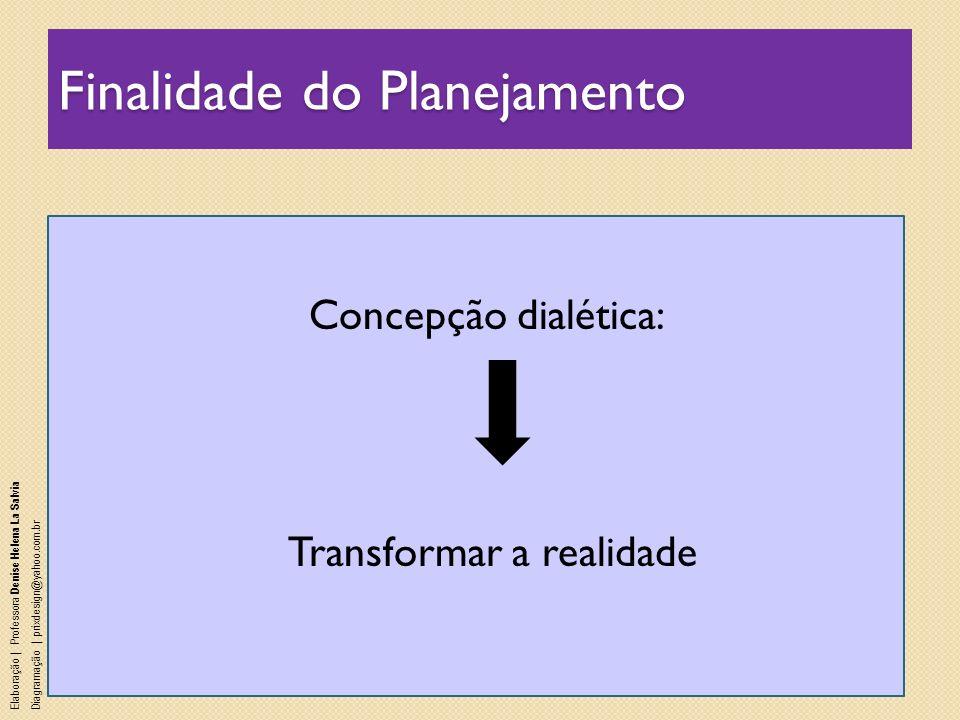 Finalidade do Planejamento Concepção dialética: Transformar a realidade Elaboração | Professora Denise Helena La Salvia Diagramação | prixdesign@yahoo