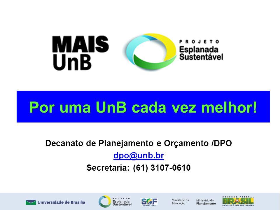 Por uma UnB cada vez melhor! Decanato de Planejamento e Orçamento /DPO dpo@unb.br Secretaria: (61) 3107-0610