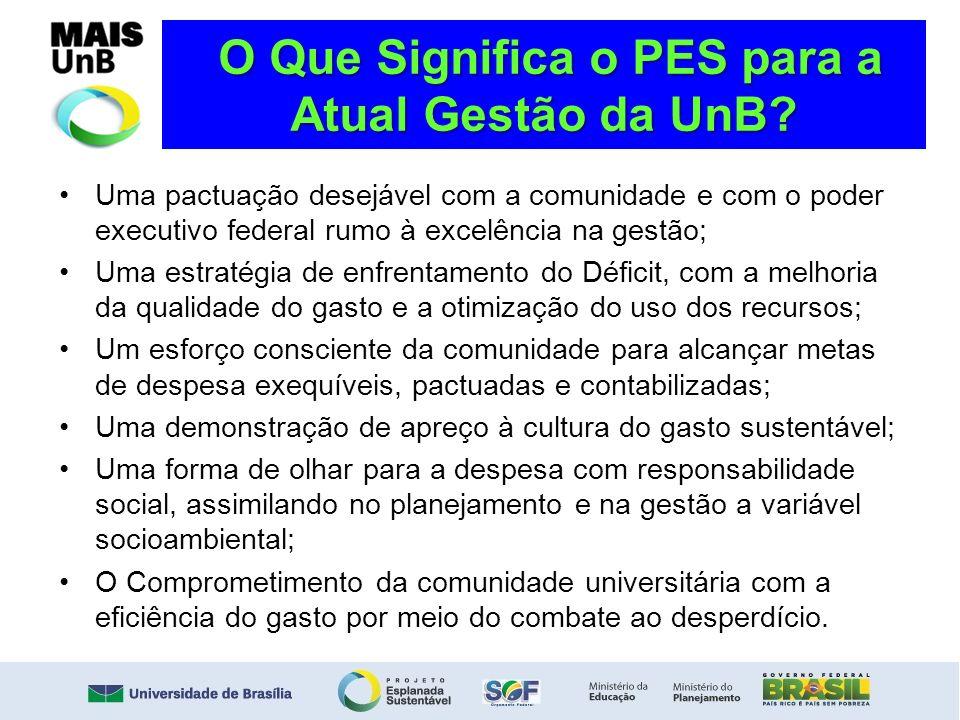 O Que Significa o PES para a Atual Gestão da UnB? O Que Significa o PES para a Atual Gestão da UnB? Uma pactuação desejável com a comunidade e com o p