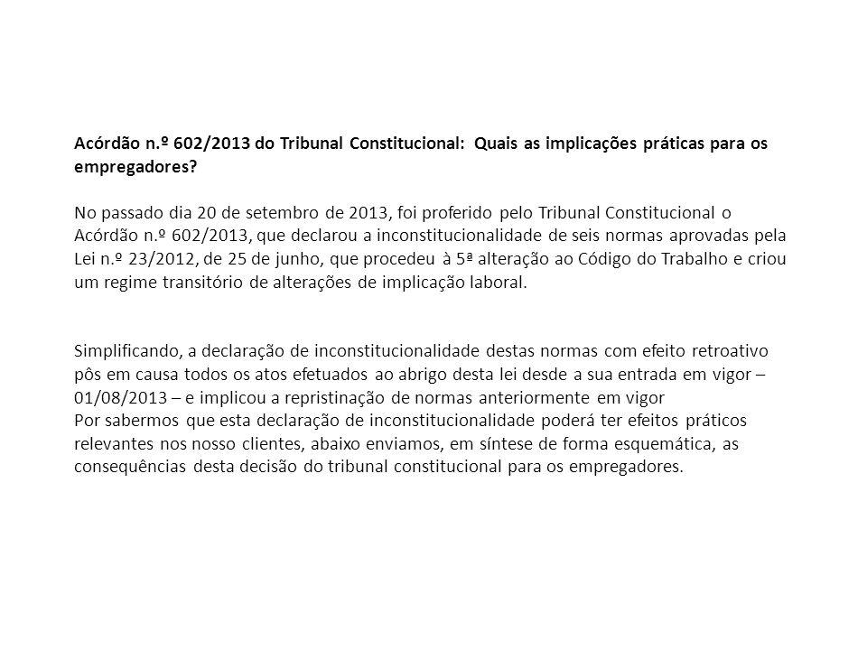 Acórdão n.º 602/2013 do Tribunal Constitucional: Quais as implicações práticas para os empregadores? No passado dia 20 de setembro de 2013, foi profer