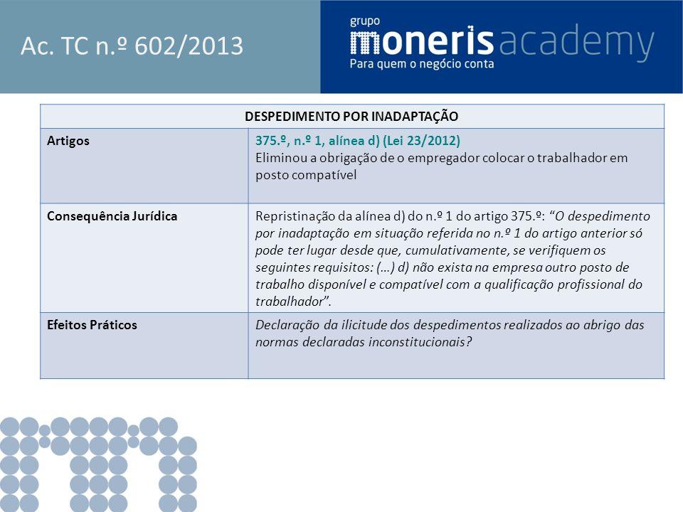 Ac. TC n.º 602/2013 DESPEDIMENTO POR INADAPTAÇÃO Artigos375.º, n.º 1, alínea d) (Lei 23/2012) Eliminou a obrigação de o empregador colocar o trabalhad