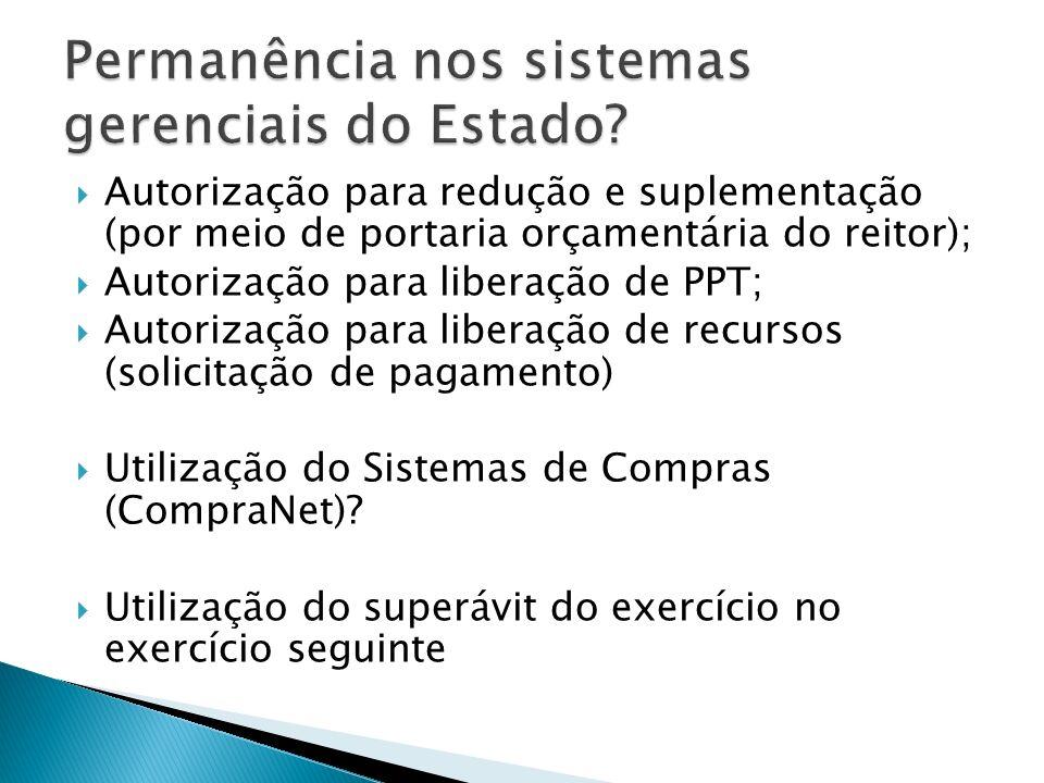 Autorização para redução e suplementação (por meio de portaria orçamentária do reitor); Autorização para liberação de PPT; Autorização para liberação de recursos (solicitação de pagamento) Utilização do Sistemas de Compras (CompraNet).