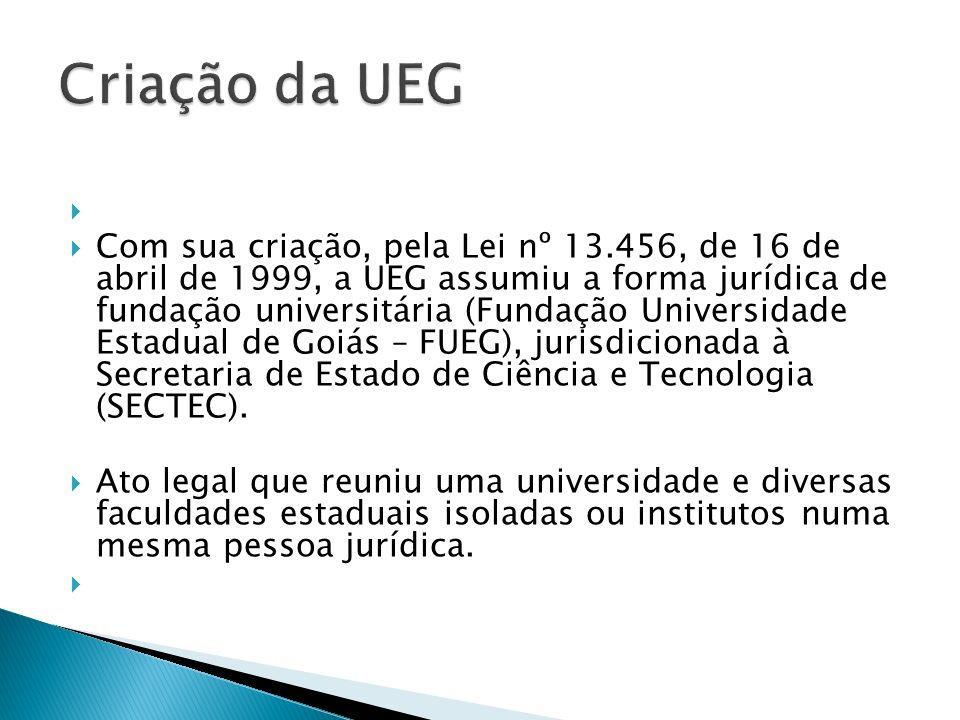 Com sua criação, pela Lei nº 13.456, de 16 de abril de 1999, a UEG assumiu a forma jurídica de fundação universitária (Fundação Universidade Estadual de Goiás – FUEG), jurisdicionada à Secretaria de Estado de Ciência e Tecnologia (SECTEC).