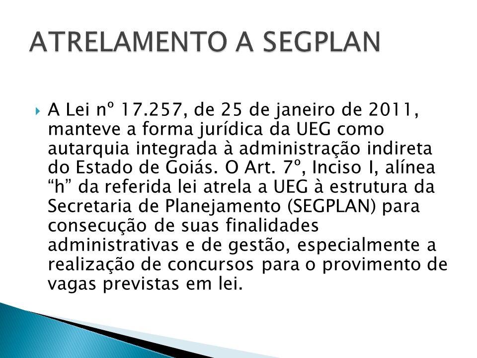 A Lei nº 17.257, de 25 de janeiro de 2011, manteve a forma jurídica da UEG como autarquia integrada à administração indireta do Estado de Goiás.