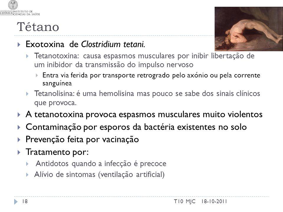 Tétano Exotoxina de Clostridium tetani. Tetanotoxina: causa espasmos musculares por inibir libertação de um inibidor da transmissão do impulso nervoso