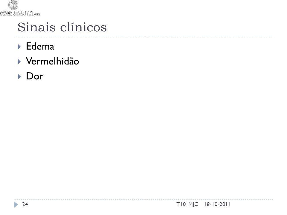 Sinais clínicos Edema Vermelhidão Dor 18-10-201124T10 MJC