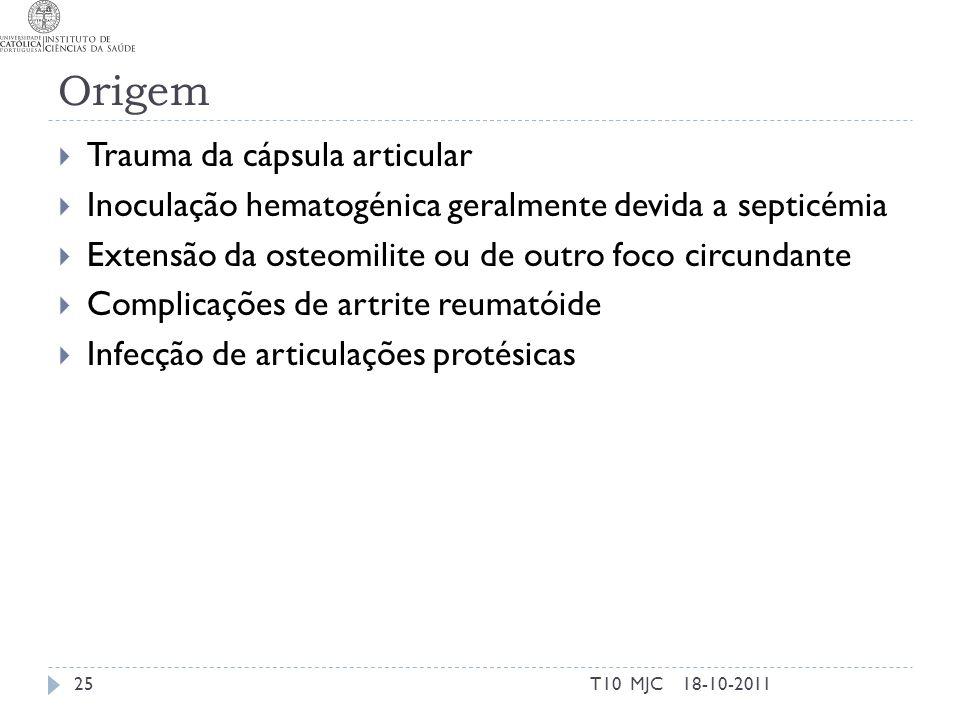 Origem Trauma da cápsula articular Inoculação hematogénica geralmente devida a septicémia Extensão da osteomilite ou de outro foco circundante Complic