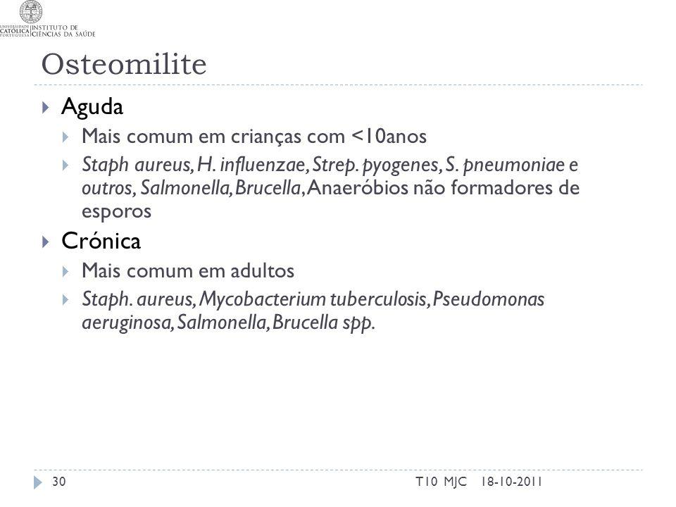 Osteomilite Aguda Mais comum em crianças com <10anos Staph aureus, H. influenzae, Strep. pyogenes, S. pneumoniae e outros, Salmonella, Brucella, Anaer