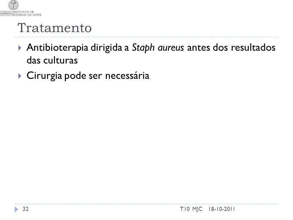 Tratamento Antibioterapia dirigida a Staph aureus antes dos resultados das culturas Cirurgia pode ser necessária 18-10-201132T10 MJC