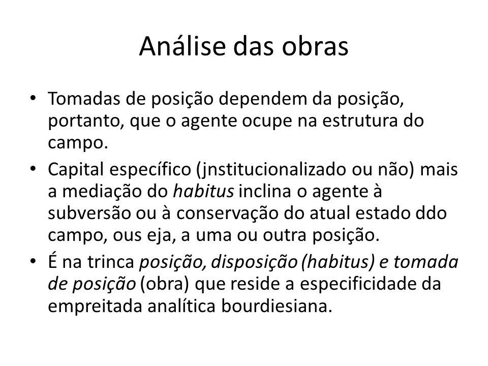 Análise das obras Tomadas de posição dependem da posição, portanto, que o agente ocupe na estrutura do campo. Capital específico (jnstitucionalizado o