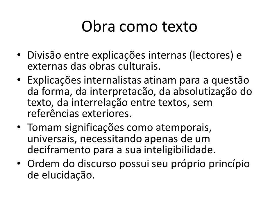 Obra como texto Divisão entre explicações internas (lectores) e externas das obras culturais. Explicações internalistas atinam para a questão da forma